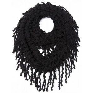 Black Fringe Infinity Scarf