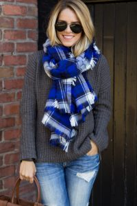 Blue Plaid Scarf Pictures