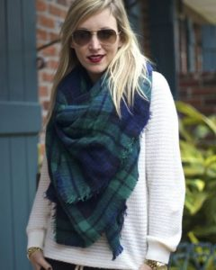Blue and Green Plaid Scarf