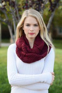 Burgundy Knit Infinity Scarf