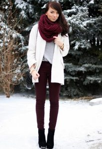 Burgundy Scarf Outfit