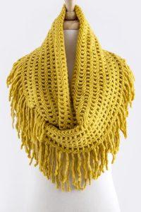 Crochet Fringe Infinity Scarf