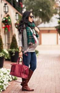 Green Plaid Scarf Outfit