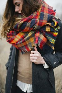Imagees of Oversized Plaid Scarf