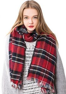 Large Red Plaid Scarf