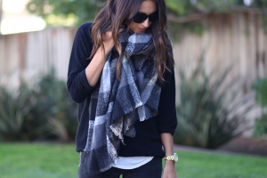 Pictures of Oversized Plaid Scarf