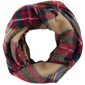 A plaid pattern in rich, autumnal hues details this feather-light infinity scarf edged in fringe/5().