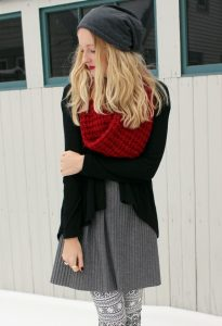 Red Infinity Scarf Outfit