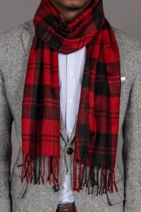 Red Plaid Scarf Men