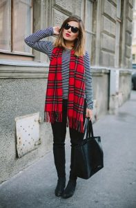 Red Plaid Scarf Womens