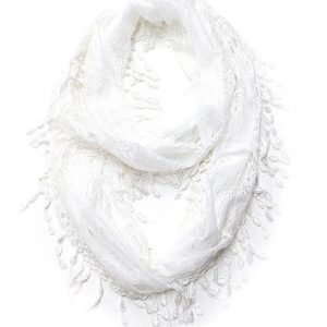 White Infinity Scarf with Lace