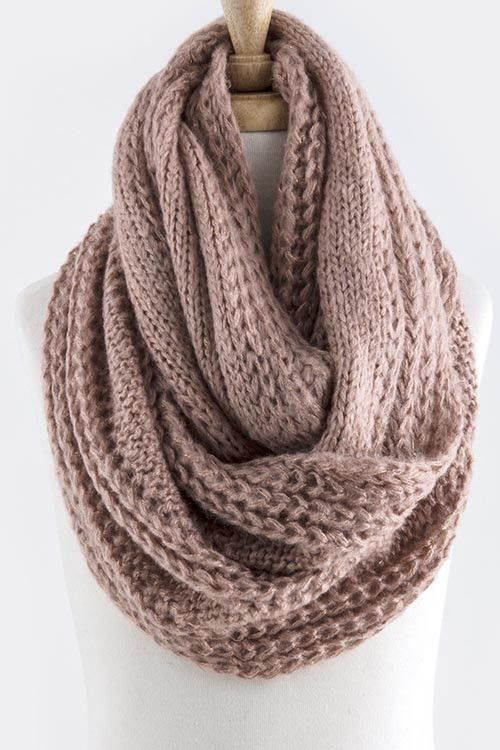 Quick & Easy Knitted Infinity Scarf If you want to create a scarf that's a bit more modern than more traditional options, an infinity scarf is a great choice. Infinity scarves are popular because they're so secure, and this one also features rows of texture for an intricate look.