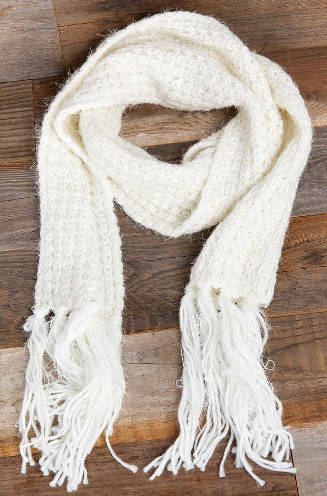 White Knit Scarf Worldscarf Com